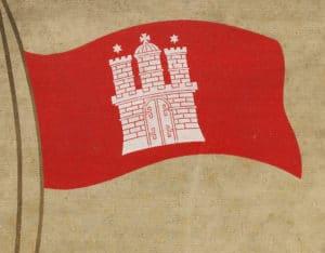 Album von Hamburg, Hamburger Landesflagge (Ausschnitt Deckel/Einband)